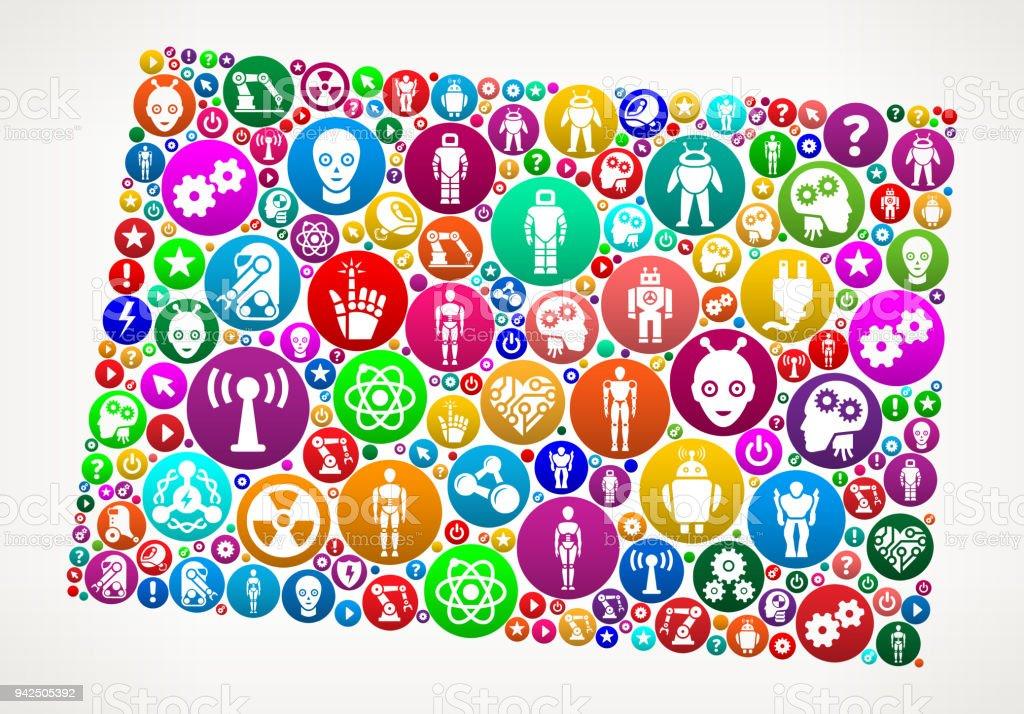 Colorado Robots and Robotics Vector Icon Pattern vector art illustration