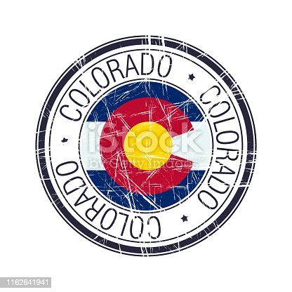 Great state of Colorado postal rubber stamp, vector object over white background