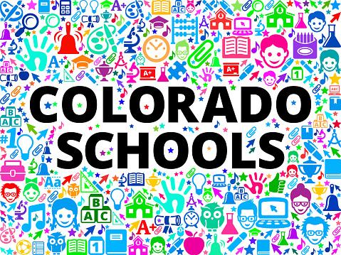 Colorado Schools School and Education Vector Icon Background