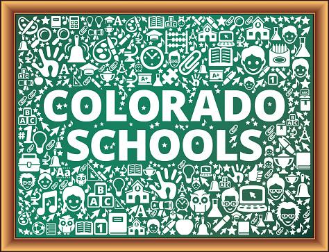 Colorado Schools School and Education Vector Icons on Chalkboard
