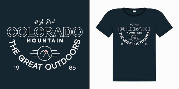 Colorado slogan for t shirt with mountains and sun. Typography graphics with an example on a t-shirt. Print for apparel with grunge. Global swatches. Vector