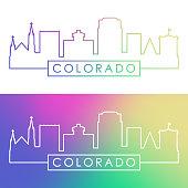 Colorado Springs skyline. Colorful linear style. Editable vector file.