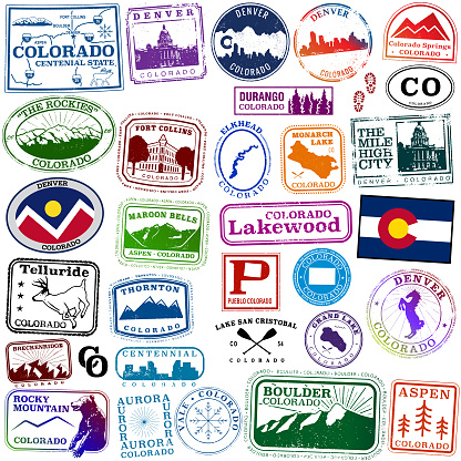 Colorado State Travel passport style stamps