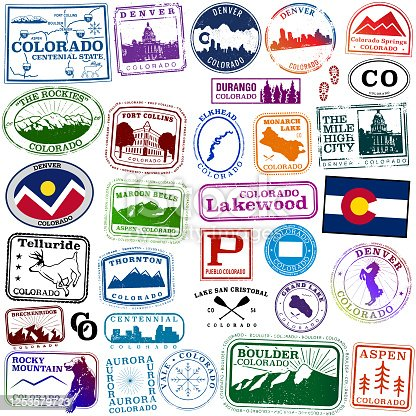 istock Colorado State Travel passport style stamps 1253579723