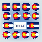 Colorado State Various Shapes Vector Flags Set