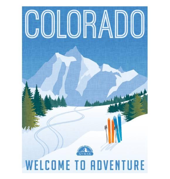 colorado-reise-plakat. vektor-illustration von skifahren in den rocky mountains. - skifahren stock-grafiken, -clipart, -cartoons und -symbole