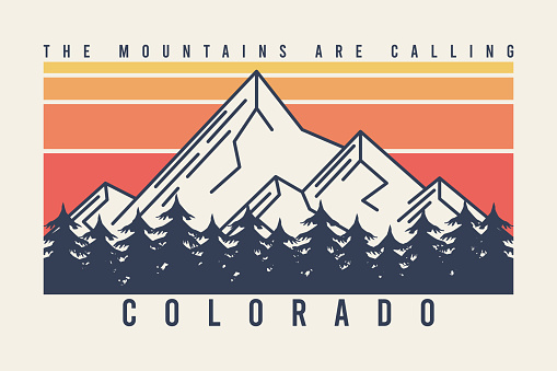 Colorado t-shirt design with mountains and fir trees or forest. Typography graphics for tee shirt with mountain in line style, color stripes, trees and slogan. Apparel print. Vector