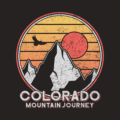 Colorado typography graphics with mountains and eagle.