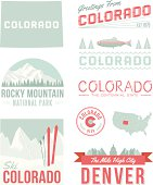 A set of vintage-style icons and typography representing the state of Colorado, including Denver and Rocky Mountain National Park. Each items is on a separate layer. Includes a layered Photoshop document. Ideal for both print and web elements.