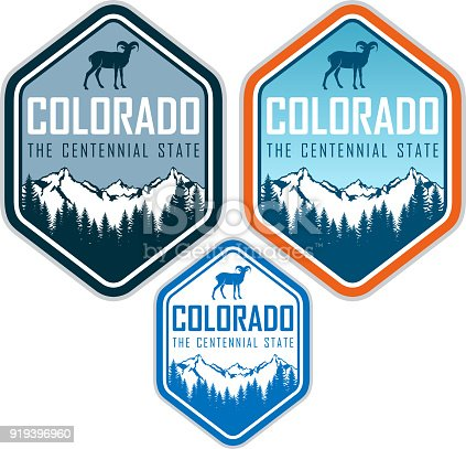 istock colorado vector label with bighorn sheep and mountains forest 919396960