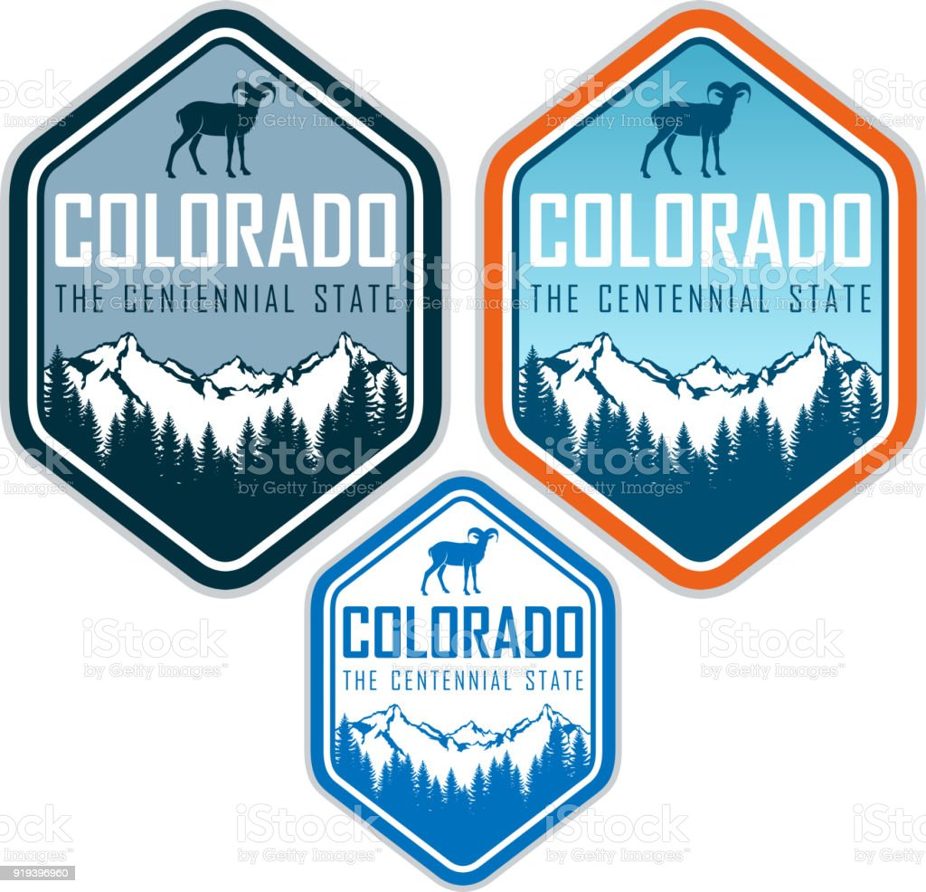 colorado vector label with bighorn sheep and mountains forest vector art illustration