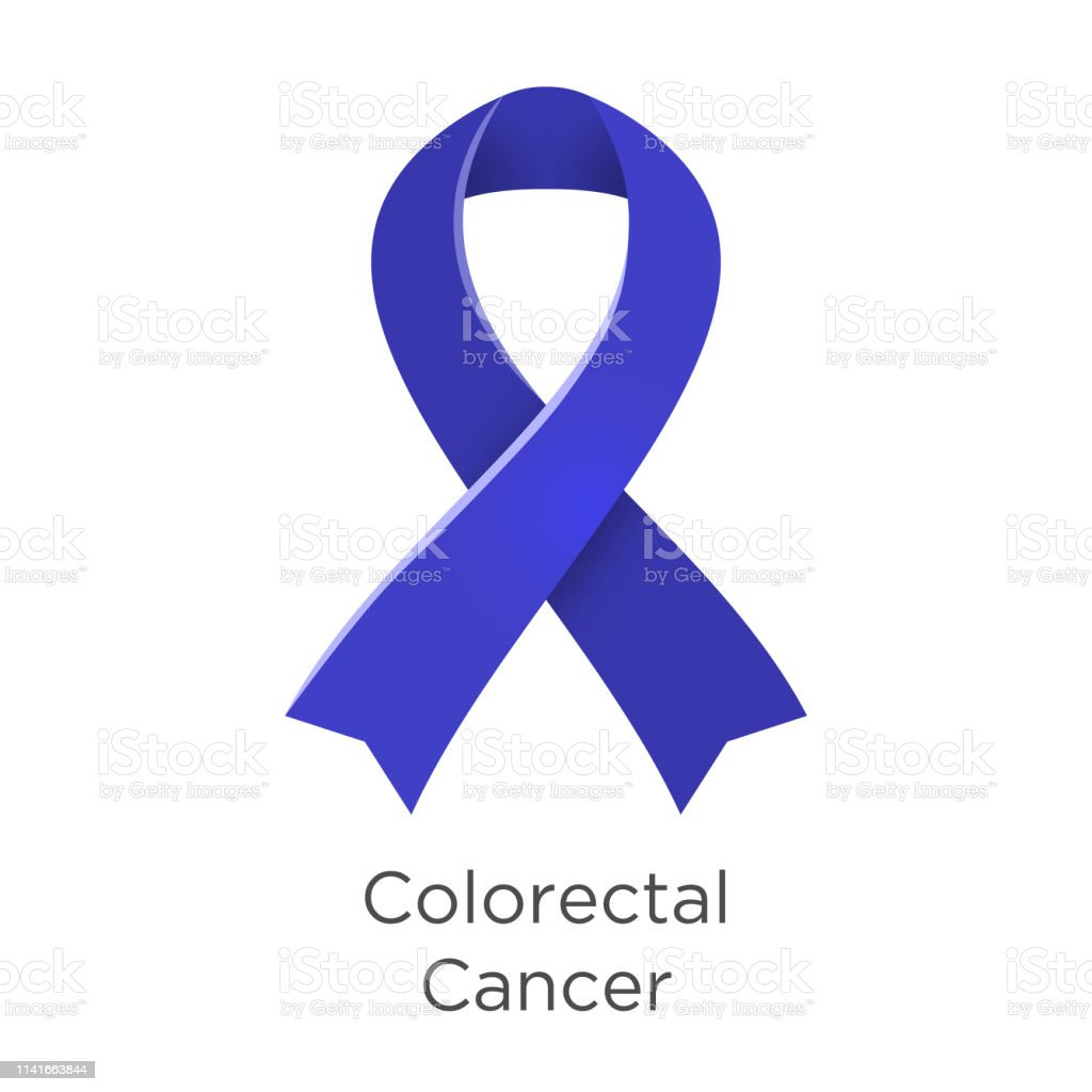 Colorectal Cancer Crc Awareness Month In March Also Known As Bowel Cancer And Colon Cancer Blue Color Ribbon Cancer Awareness Products Vector Illustration White Isolated Stock Illustration Download Image Now Istock