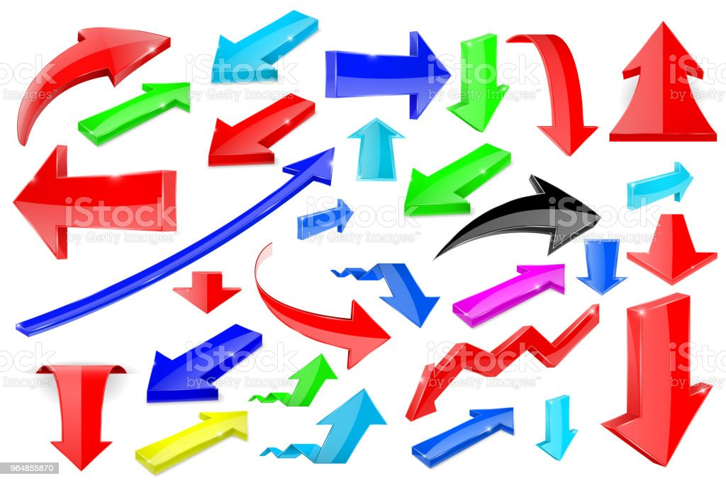 Colored 3d arrows. Shiny icons royalty-free colored 3d arrows shiny icons stock vector art & more images of arrow symbol