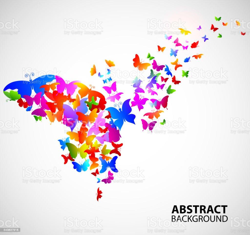 Cor de fundo abstrato com borboletas - ilustração de arte em vetor