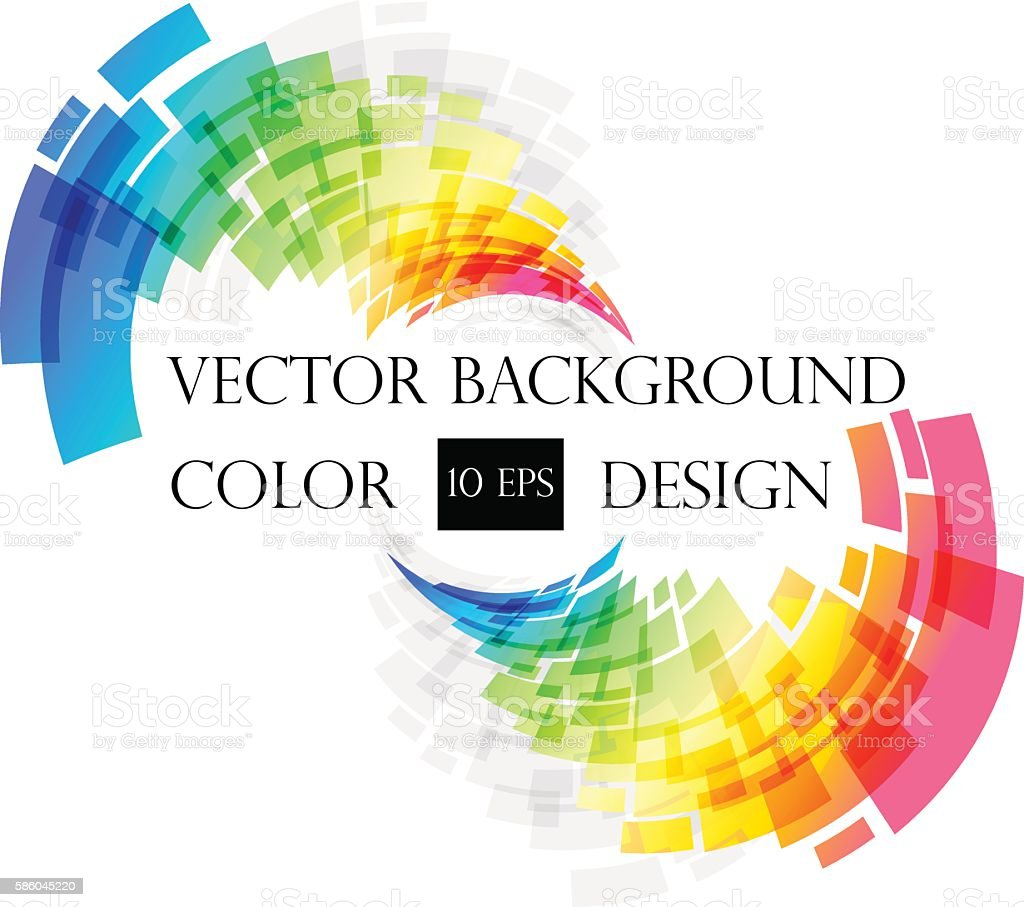 Colored abstract frame on white vector art illustration