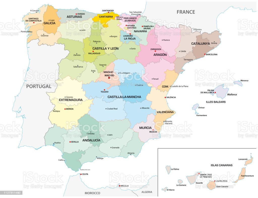 Colored administrative and political vector map of the Spanish provinces and regions royalty-free colored administrative and political vector map of the spanish provinces and regions stock illustration - download image now