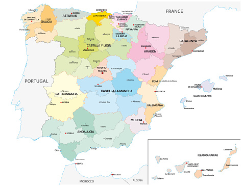Colored administrative and political vector map of the Spanish provinces and regions