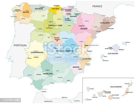 istock Colored administrative and political vector map of the Spanish provinces and regions 1127311492
