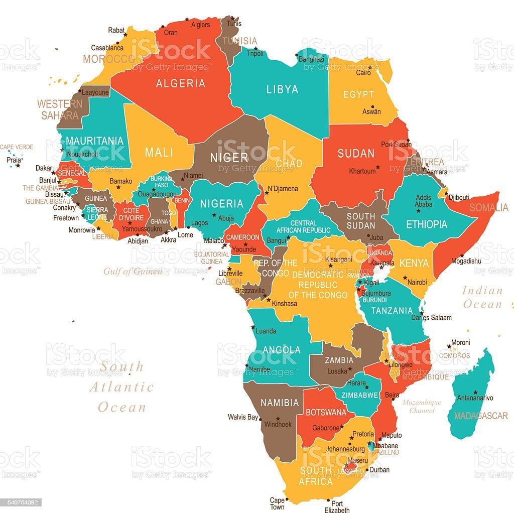 Couleur De L Afrique.Couleur Carte De Lafrique Vecteurs Libres De Droits Et Plus