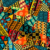 Colored african patchwork background with african motifs