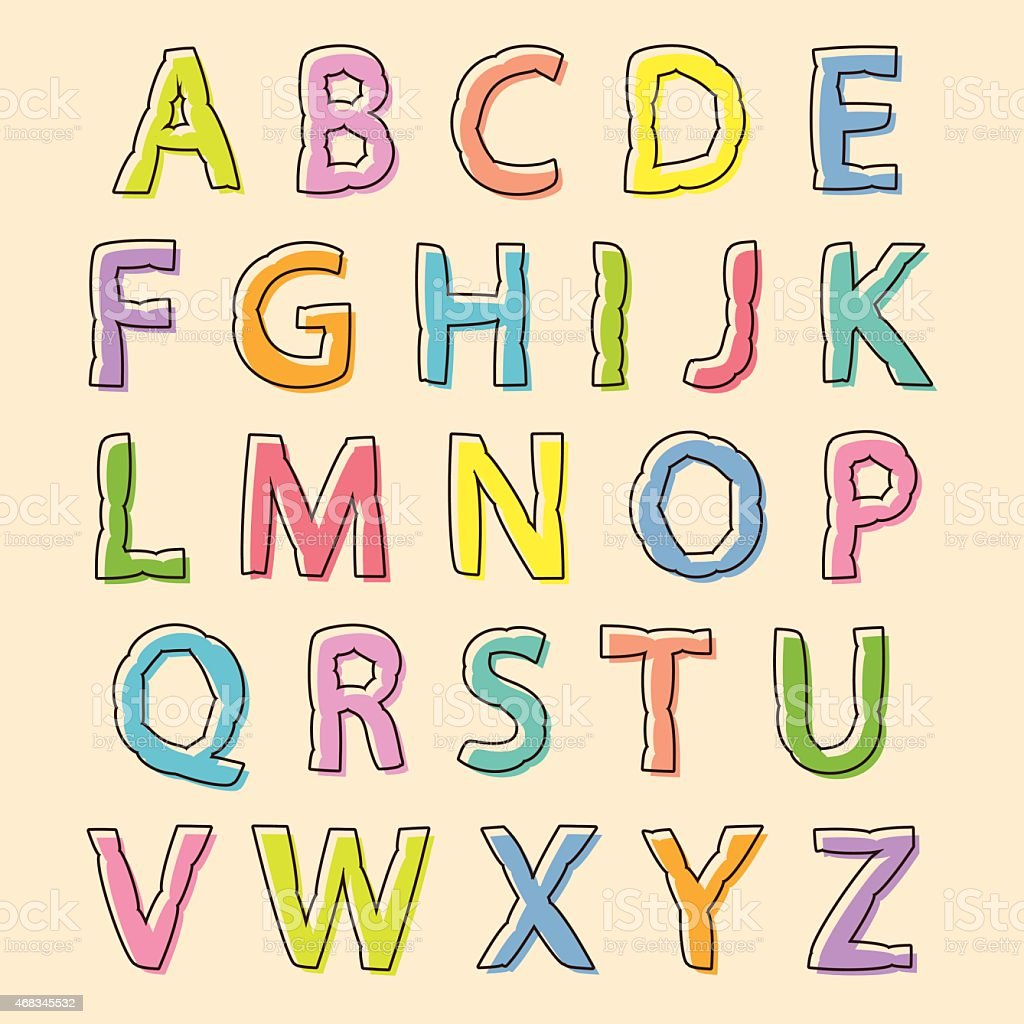 Colored alphabet letters with bloated outline royalty-free colored alphabet letters with bloated outline stock vector art & more images of alphabet
