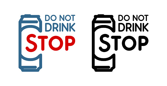 Colored and black Vector Sign with beer bottle and slogan - Do Not Drink, Stop