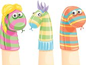 Colored and funny sock puppets for a perfect show. EPS 8.0, Ai CS, PDF and JPEG (4000×3024) are included in package.