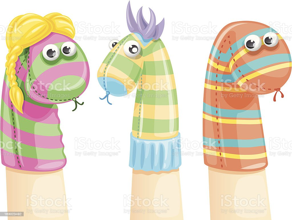 Colored and funny sock puppets vector art illustration