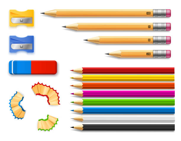 colored and various length pencils with sharpeners and eraser - ołówek stock illustrations