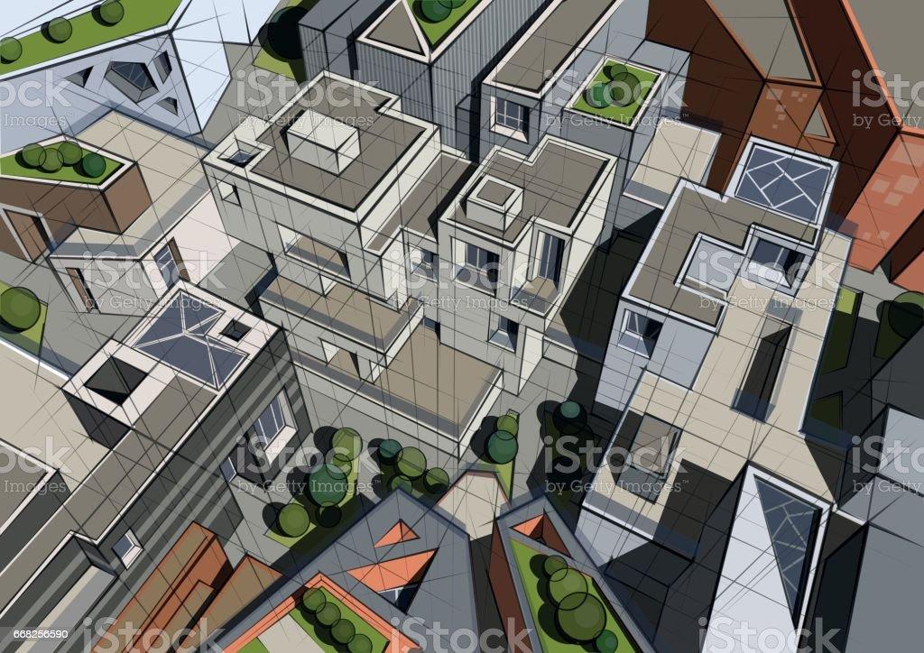 Colored architecture illustration colored architecture illustration - immagini vettoriali stock e altre immagini di affari finanza e industria royalty-free