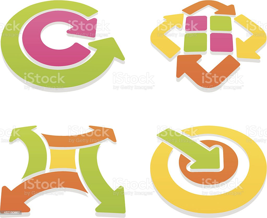 colored arrow sign set V royalty-free stock vector art