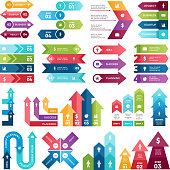 Colored arrows for design projects of infographics. Visualizations of steps. Pictures for business presentations. Infographic arrow ribbon, organization flowchart and infograph
