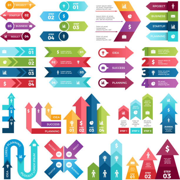 Colored arrows for design projects of infographics. Visualizations of steps. Pictures for business presentations vector art illustration