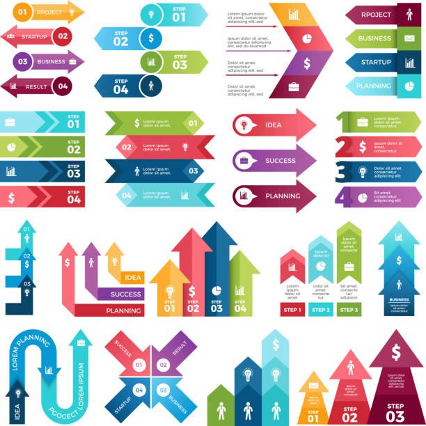 ilustraciones, imágenes clip art, dibujos animados e iconos de stock de flechas de colores para proyectos de diseño de la infografía. visualizaciones de pasos. imágenes para presentaciones de negocios - infografías para diagramas de flujo