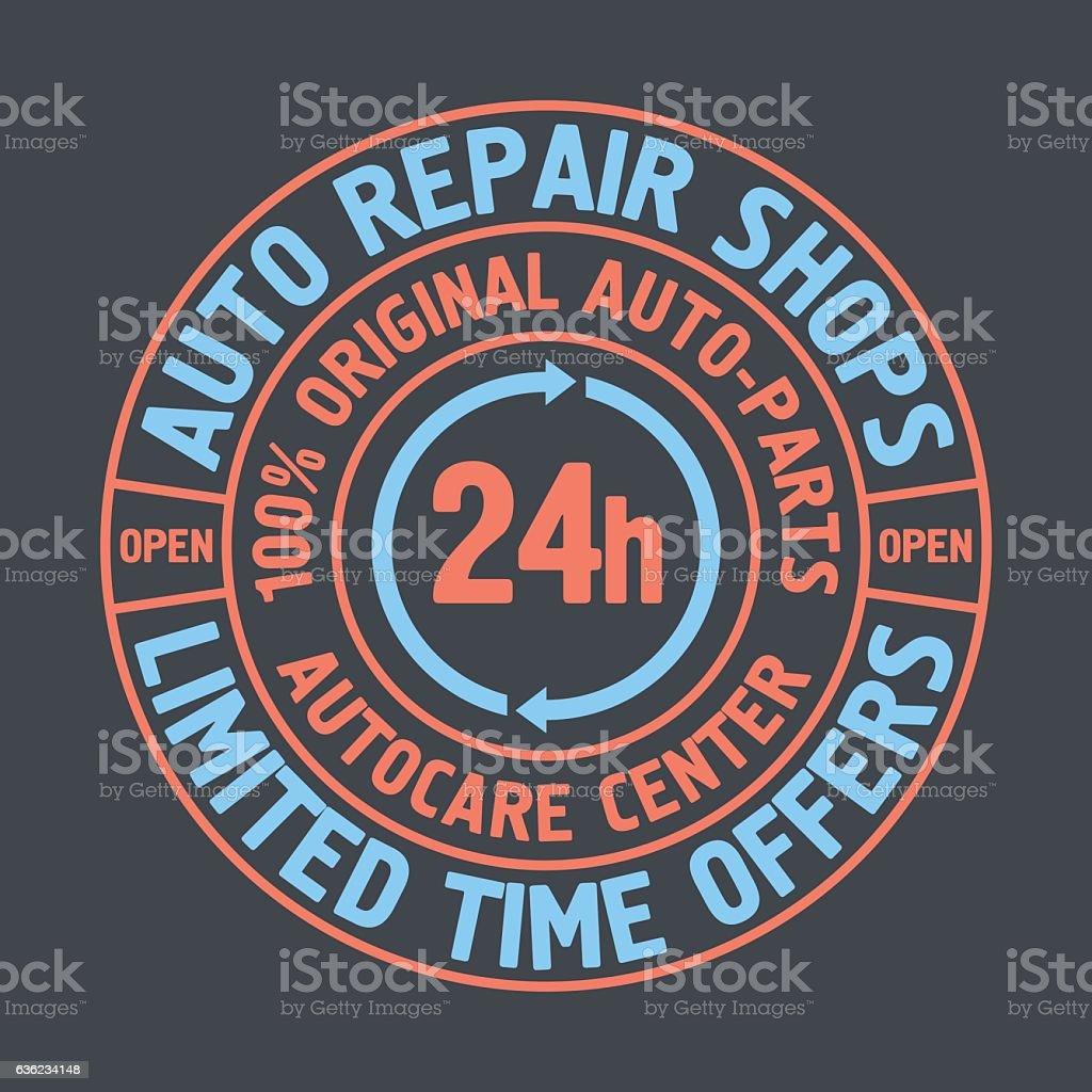 Vetores de Colored Auto Repair Shops Badge Template Car Service
