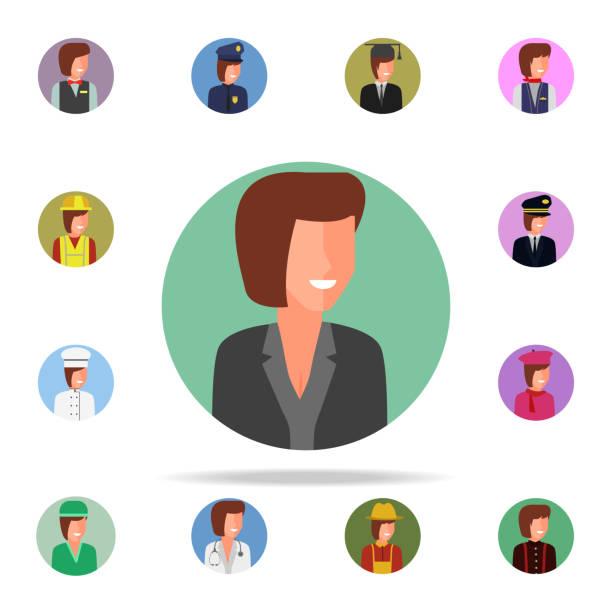 illustrations, cliparts, dessins animés et icônes de couleur d'avatar d'icône de la femme d'affaires. icônes avatar universels définies pour web et mobile - infographie processus