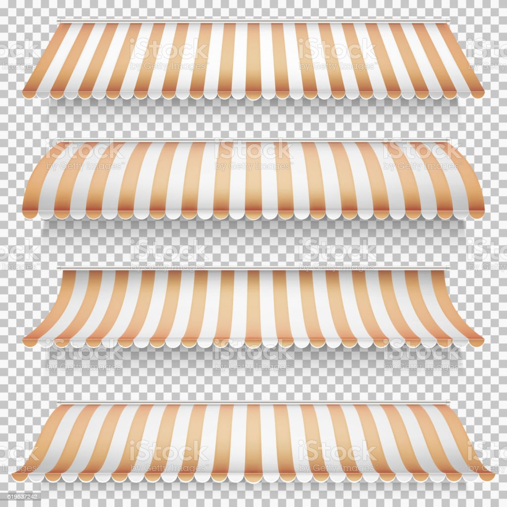 Colored awnings set. EPS 10 vector art illustration