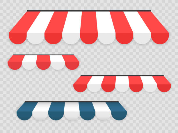 farbige markisen auf transparenten hintergrund gesetzt. flache cartoon-design, vektor-illustration auf hintergrund. - stoffmarkt stock-grafiken, -clipart, -cartoons und -symbole