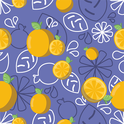 Colored background pattern with oranges and leaves