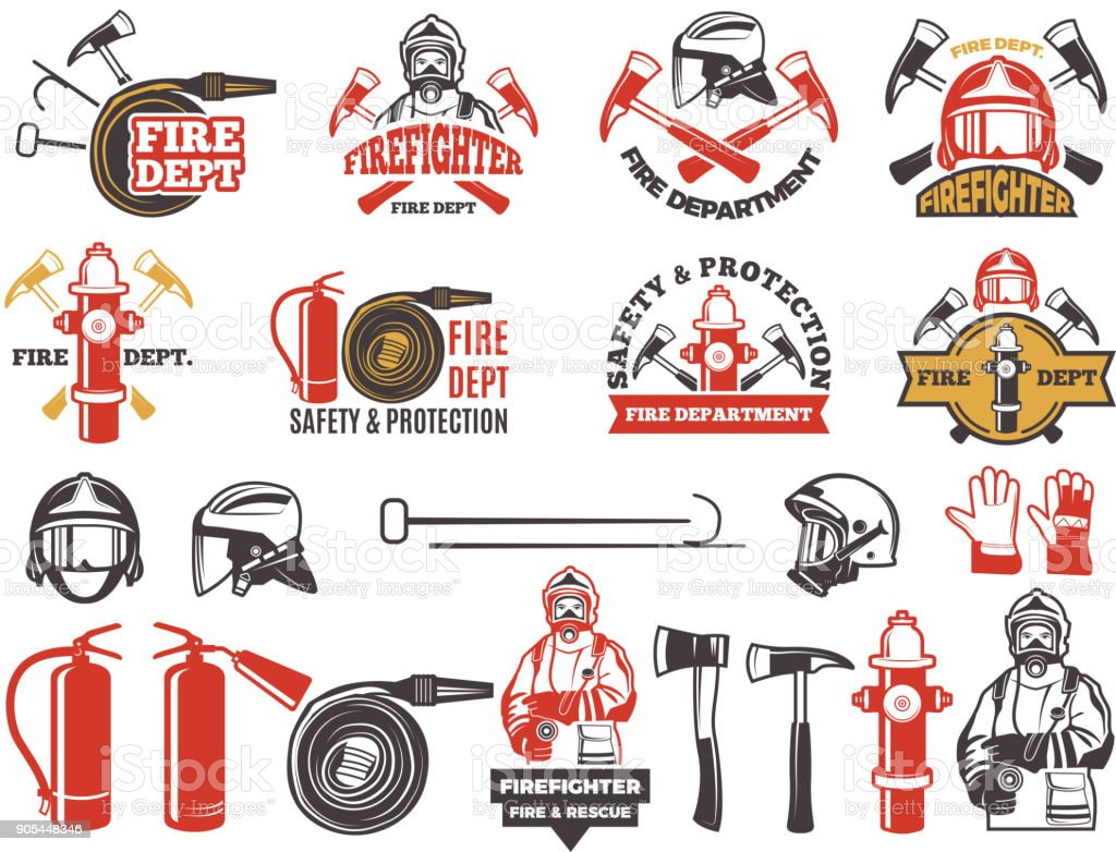 Colored badges for firefighter department. Symbols set of emergency protection isolated on white vector art illustration