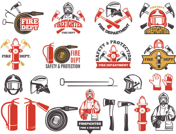 ilustraciones, imágenes clip art, dibujos animados e iconos de stock de colores distintivos para el departamento de bomberos. conjunto de símbolos de protección de emergencia aislado en blanco - bombero