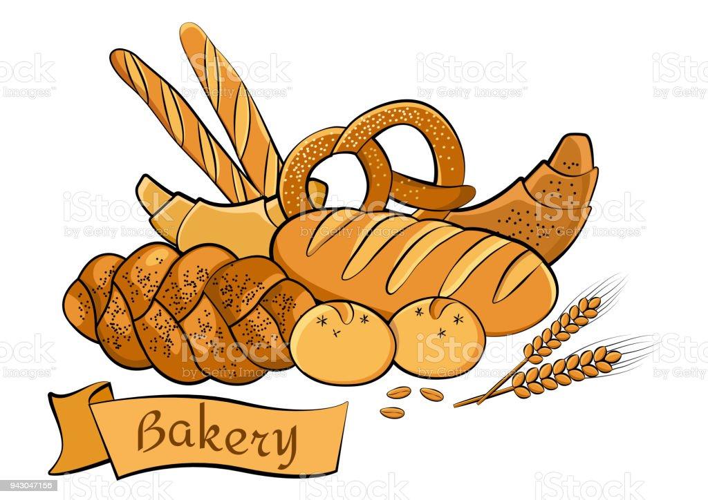 パン屋さんセットを着色ベクトル イラスト とげのあるのベクターアート