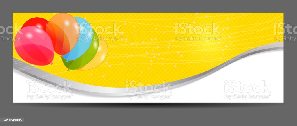 colored balloons banner, vector illustration. royalty-free stock vector art