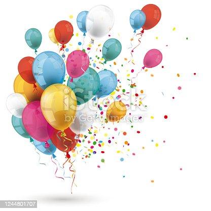 istock Colored Balloons Confetti Explosion 1244801707