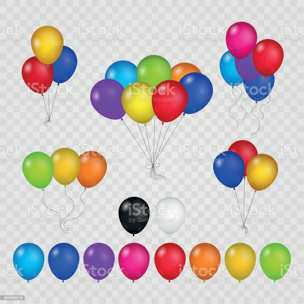 Colored balloons on transparent background vector art illustration