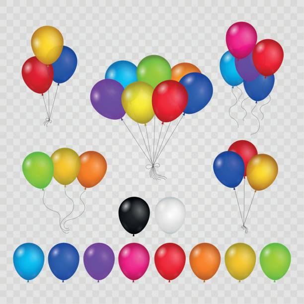 bildbanksillustrationer, clip art samt tecknat material och ikoner med färgade ballonger på transparent bakgrund - blue yellow band