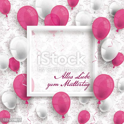 istock Colored Balloons White Frame Muttertag Ornaments Wallpaper 1221776617