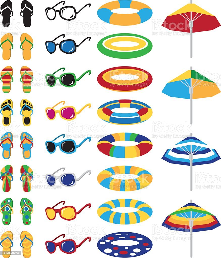 colored beach icons vector art illustration