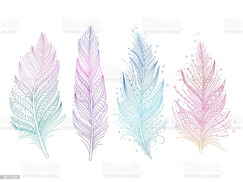 Colored bird feathers - Grafika wektorowa royalty-free (Bazgroły - Rysunek)