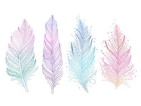 Colored Bird Feathers - Stockowe grafiki wektorowe i więcej obrazów Bazgroły - Rysunek
